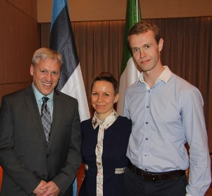 Stewart with Estonia members